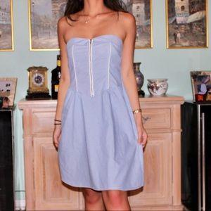 Blue Strapless Dress w/ Zipper